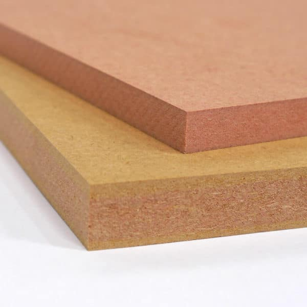 A photo showing two small pieces of Fire Retardant MDF board on top of each other, one is 18mm FR MDF the other is 12mm FR MDF