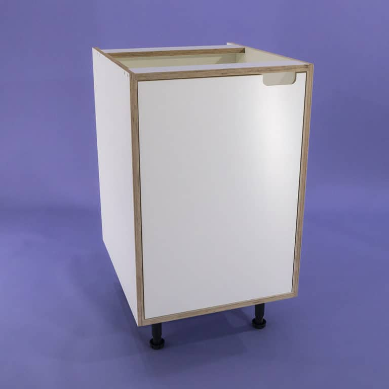 A studio photo of a white melamine faced birch plywood kitchen base unit with an inset door with a cut out handle design