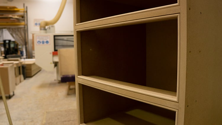 A bespoke MDF kitchen carcass assembled in the workshop