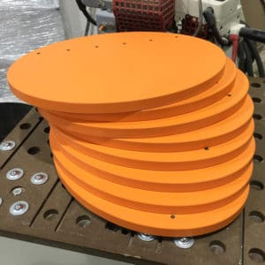 Orange ellipses for a Zip-Clip Display Stand showing colour matched Edge banding