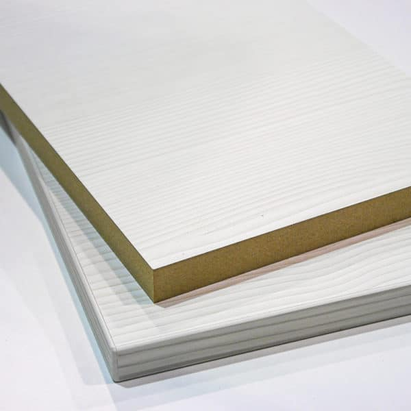 Two pieces of white wood efect mdf cut to size and stup
