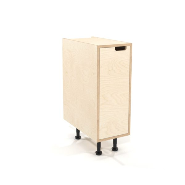 rendering of a 300mm birch plywood kitchen base unit with inset door