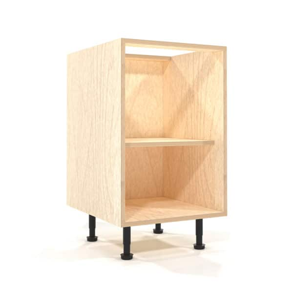 a rendering of a 500mm wide birch plywood kitchen base unit on a white background