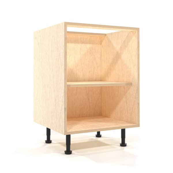 a rendering of a 600mm wide birch plywood kitchen base unit on a white background
