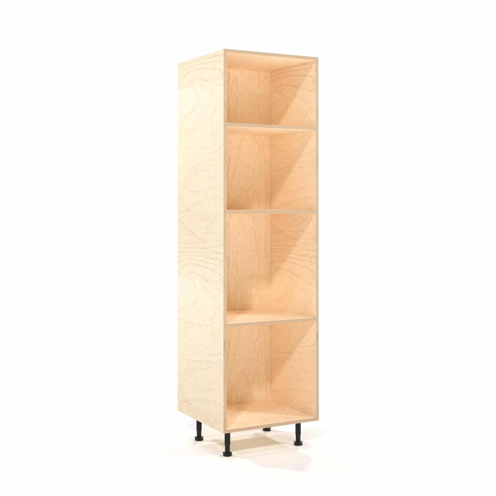 a rendering of a 600mm wide birch plywood kitchen larder unit