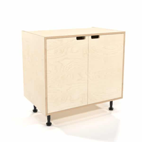 rendering of a 900mm birch plywood kitchen base unit with inset doors