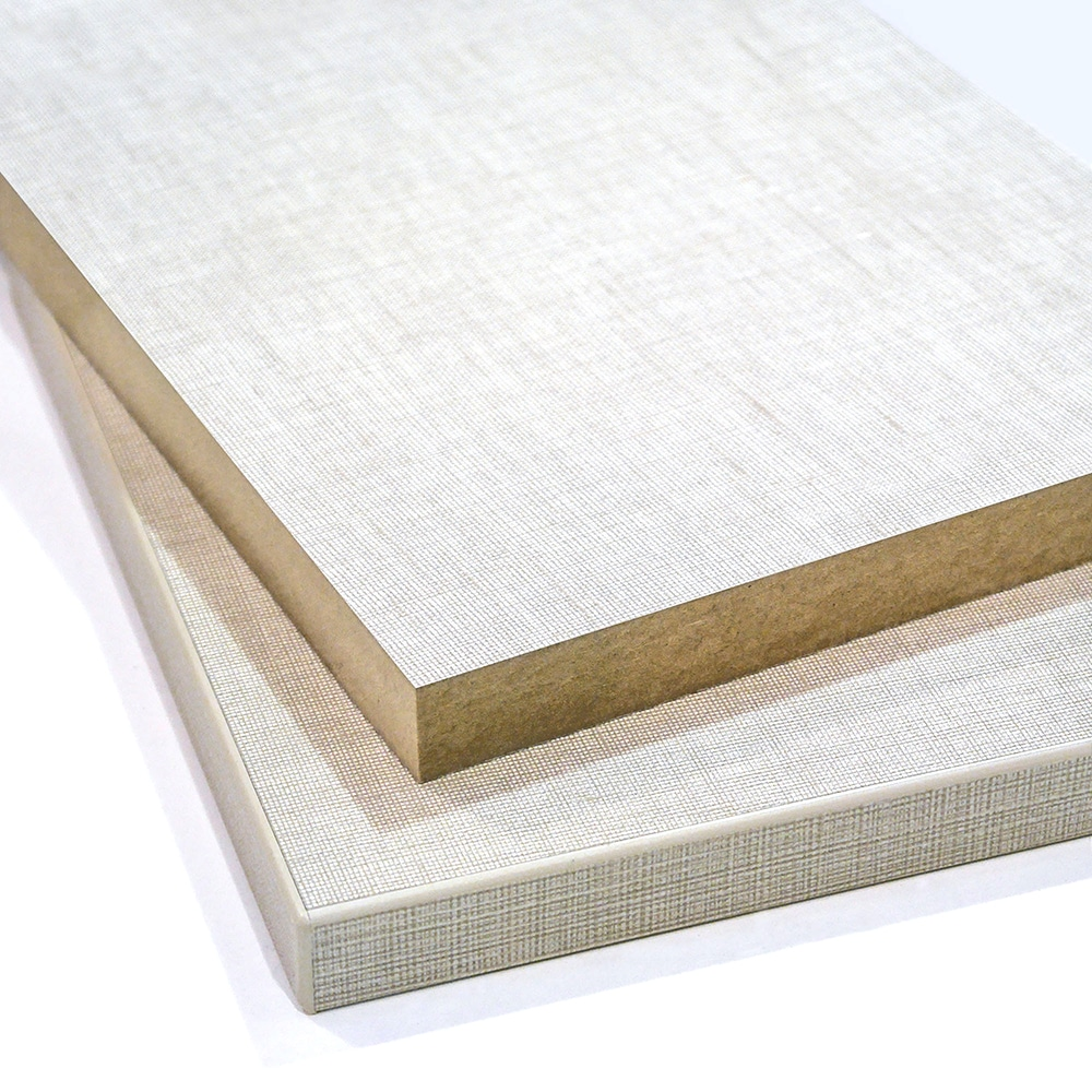 Two pieces of Beige Linen Melamine faced MDF