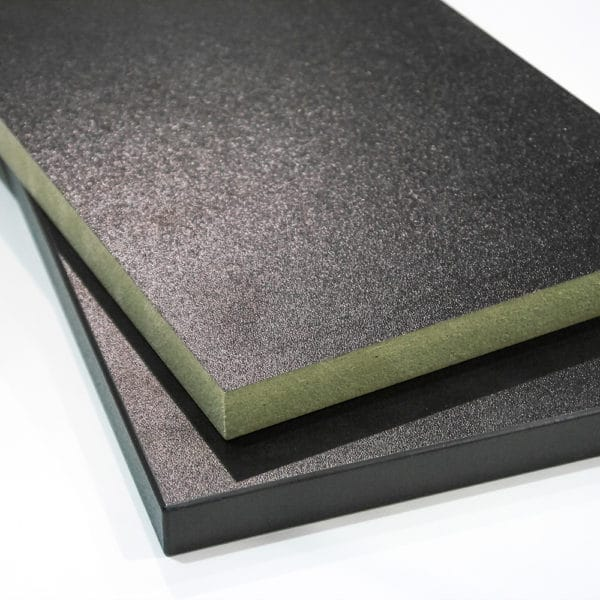 Two pieces of moisture resistant black melamine faced mdf cut to size and stacked on top of each other