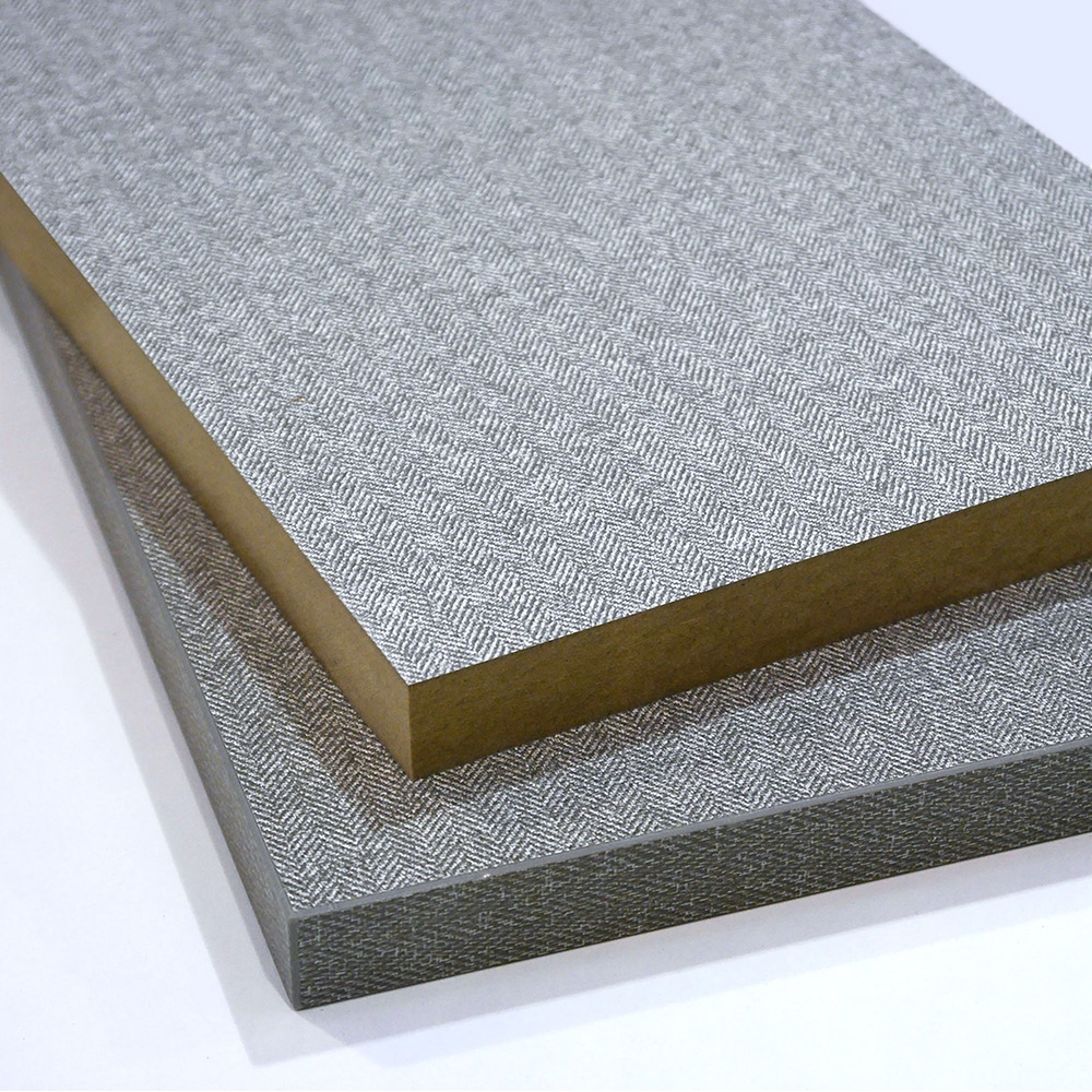 Two pieces of Grey Tweed Melamine Faced MDF cut to size and stacked on top of each other