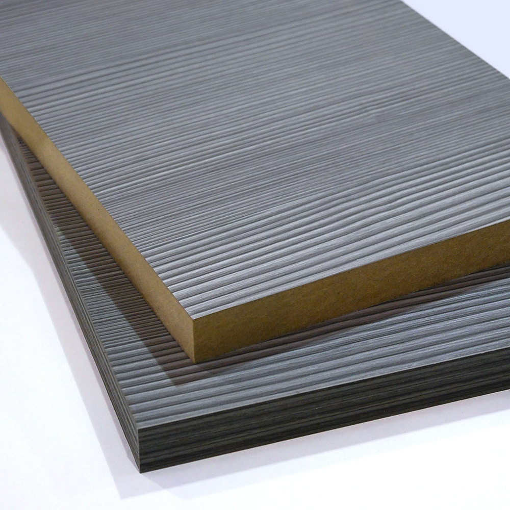 two pieces of grey wood effect melamine faced mdf cut to size and stacked on top of each other
