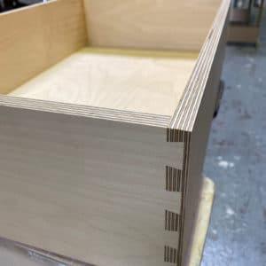 A birch plywood dovetail drawer box