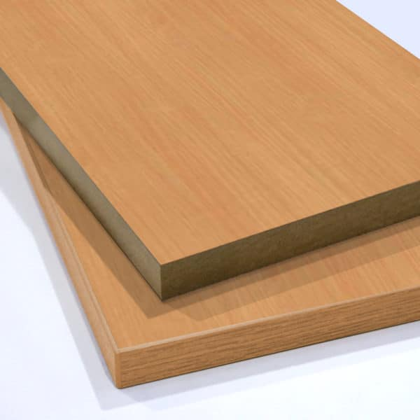 Two pieces of Beech Melamine Board cut to size and stacked on top of each other