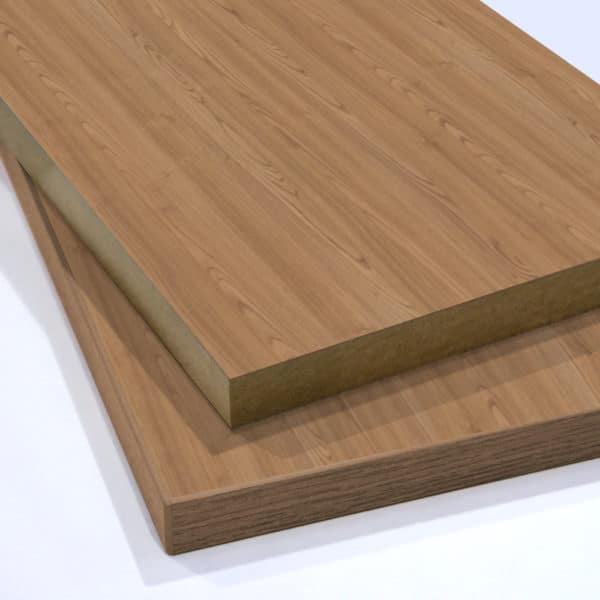two pieces of French Elm Melamine Faced MDF stacked on top of each other
