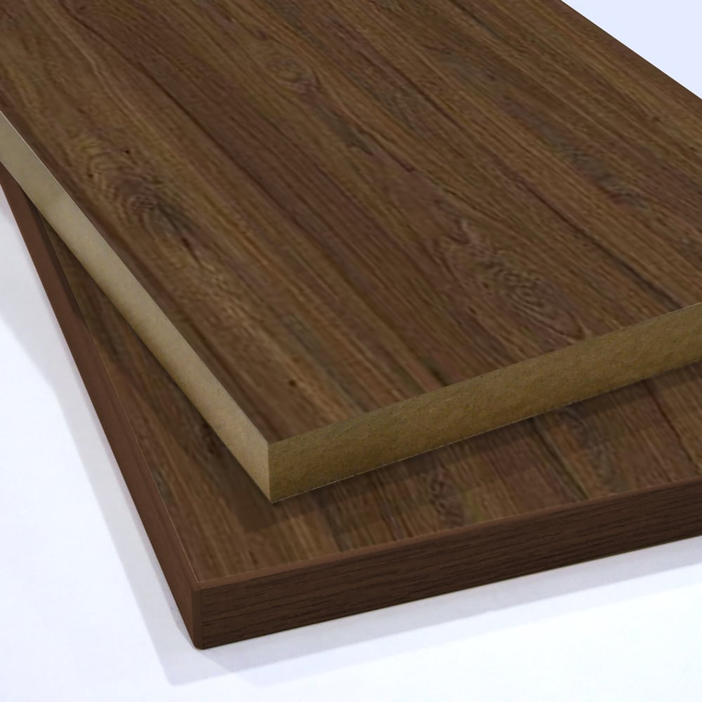 Two pieces of Walnut Faced MDF cut to sixe and stacked on top of each other