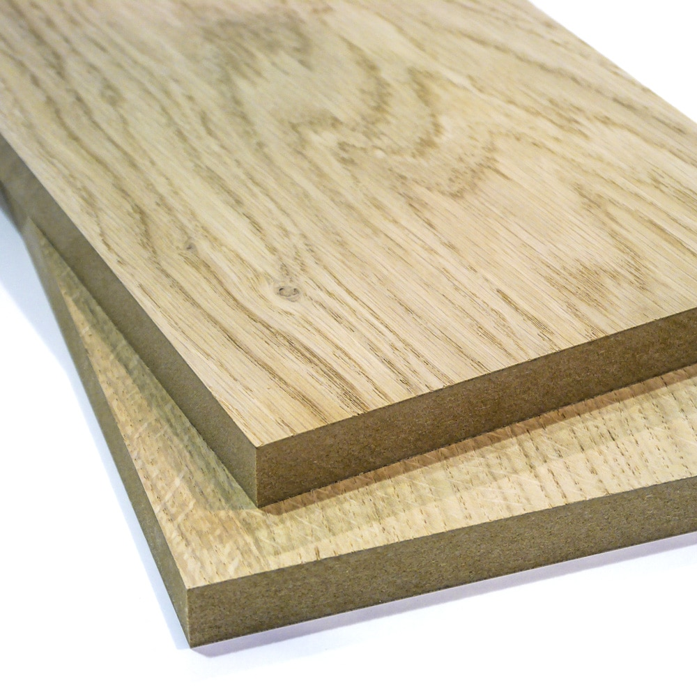 Two pieces of Oak Veneer MDF stacked on top of each other