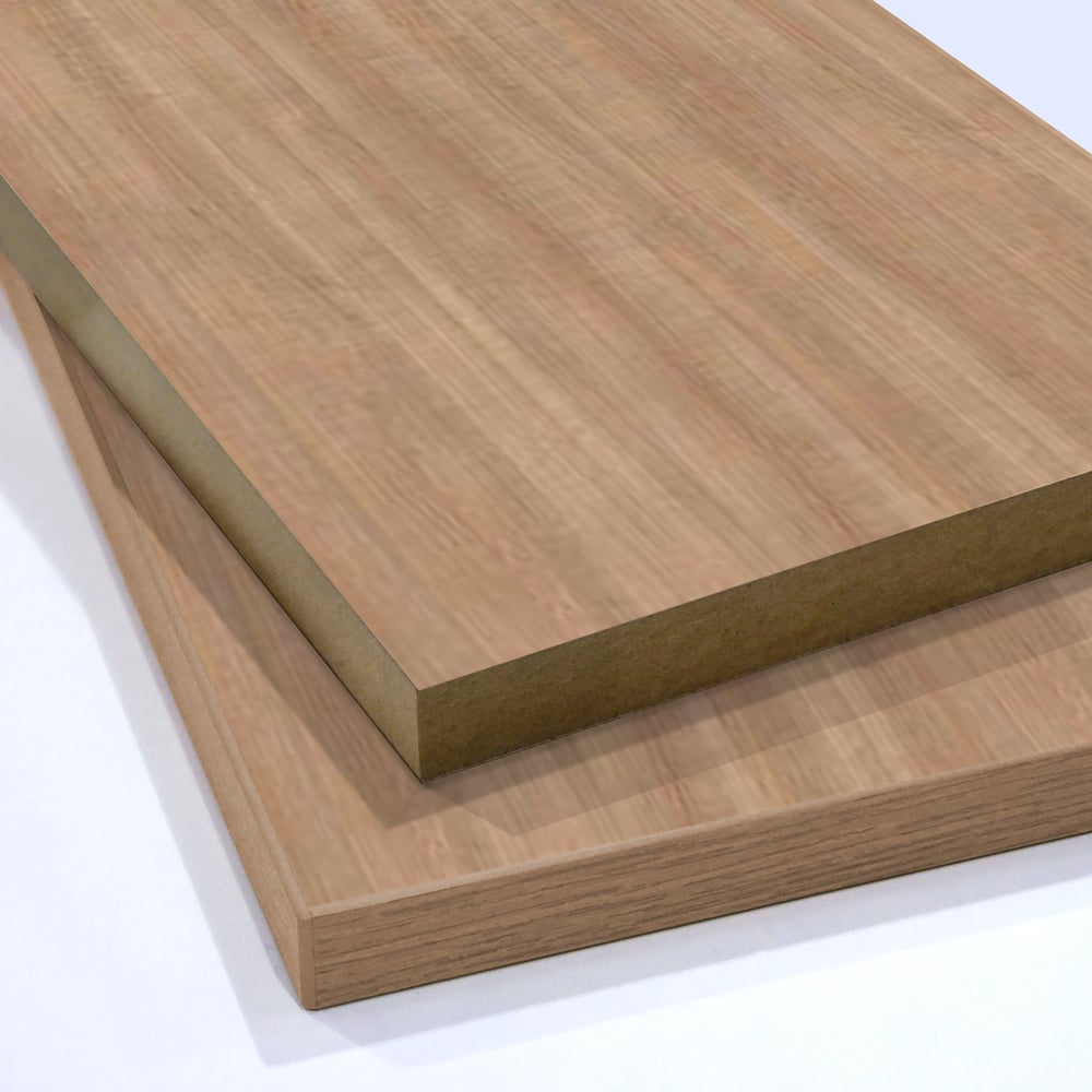 Two pieces of Portofino Cherry Melamine Faced MDF stacked on top of each other