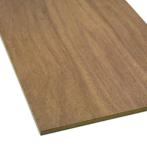 Sapele veneered MDF board on a white background