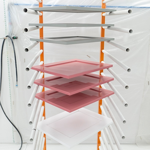 Drying rack with shaker style doors on