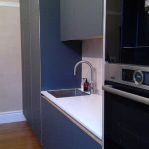 Fenix laminated birch plywood kitchen with birch plywood handleless profile