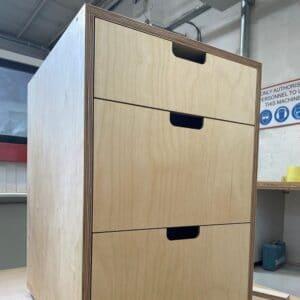 3 Drawer Birch Plywood kitchen cabinet