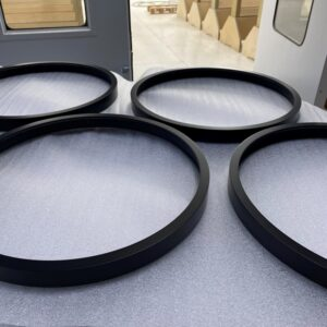 Black spray painted MR MDF circular picture frames