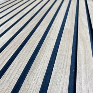 Oak Veneer faced grooved Black MDF panel